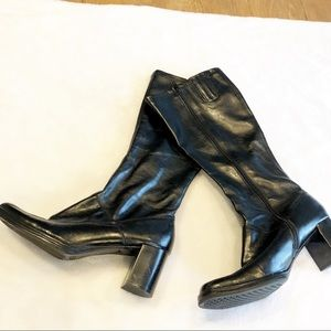 Aerosoles knee high boots black leather 11